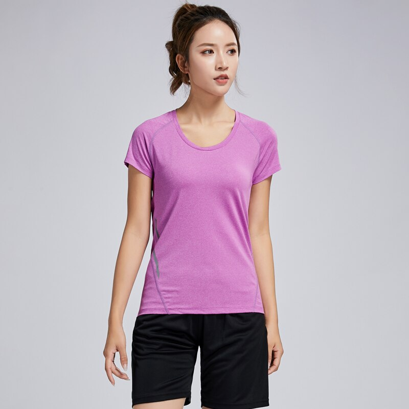 T Shirt Running Woman Quick Dry Fitness Slim Short Sleeves Breathable Gym Nylon Sportswear Yoga Shirts Compression Female 2019