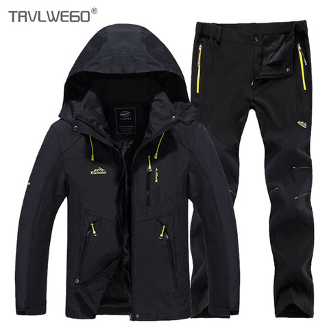 TRVLWEGO Men Spring Fishing Hiking Jackets Trousers Set Camping Climbing Trekking Autumn Outdoor Travel Quick Dry Suit Pant