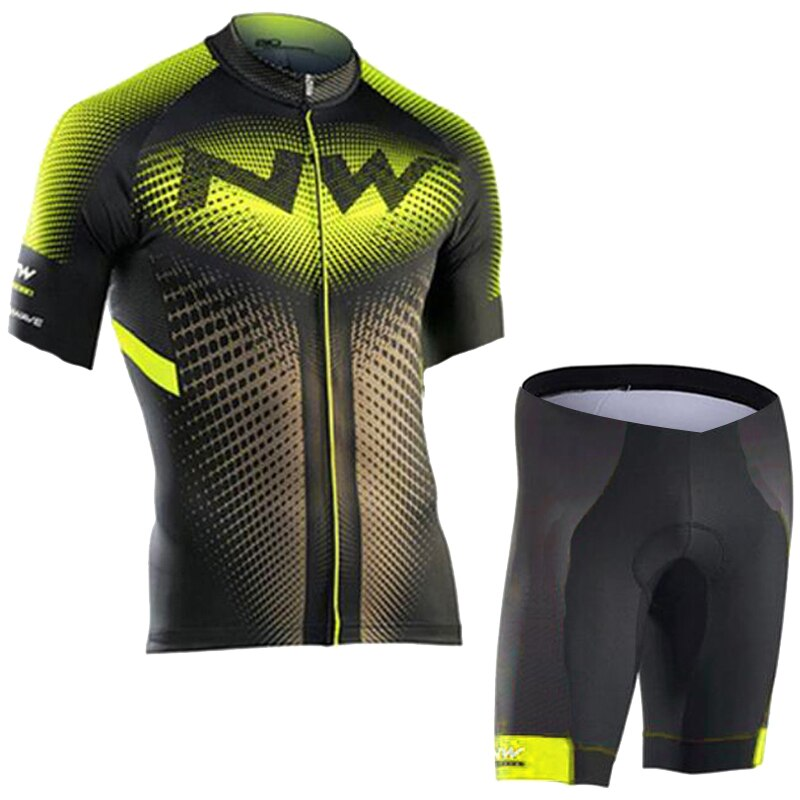 2018 NW Brand Flour Green Cycling Jersey Set Mountian Bicycle Sportswear Cycling Clothing Racing Bike Wear Clothes Cycling Set