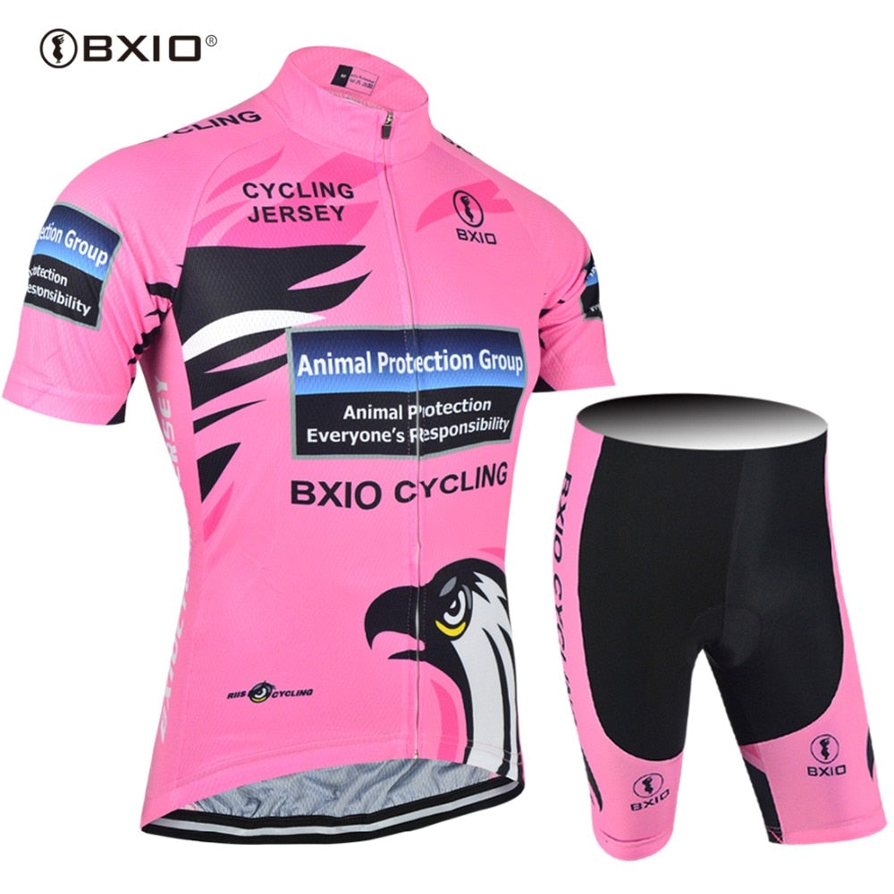 BXIO Women Cycling Jerseys Sets Clothing Bike Sportswear Summer Short Sleeve Bicycle Breathable Pink Hot Popular BX-0209R067