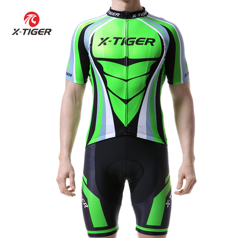 X-Tiger Flour Green Cycling Jerseys Set Mountain Bike Clothes Sportswear Racing Bicycle Cycling Clothing Maillot Ropa Ciclismo