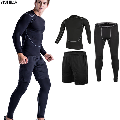 workout 3pcs Gym Suits men's Sport Suites Running Tights Fitness Training Jogging Compression Running Suits Tracksuits slim suit