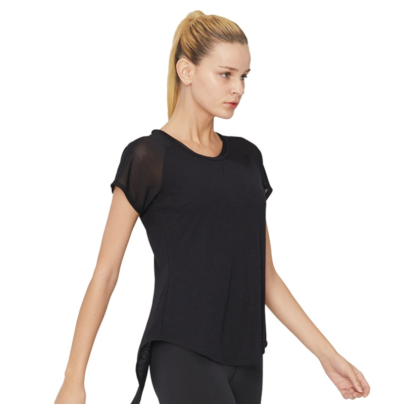 SYPREM Running T shirt Sexy SLUB JERSEY Running Sports Wear For Women Compression Short Sleeve Mesh Breathable Gym Tank 18FD2040