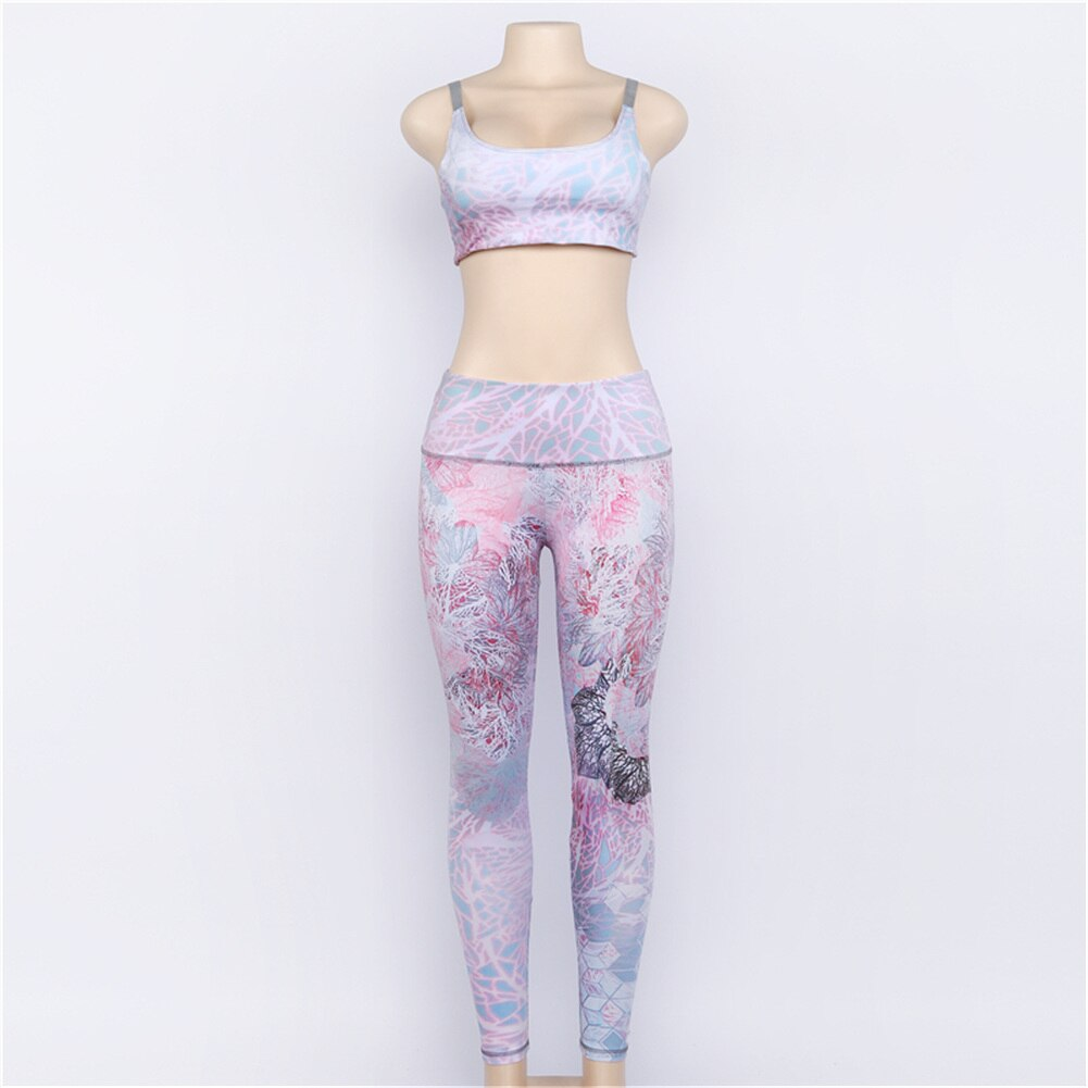 Floral Printed Women's Tracksuit Sexy Halter Yoga Bra + Sport Legging Tights Running Gym Fitness Yoga Set Sportswear Sports Suit