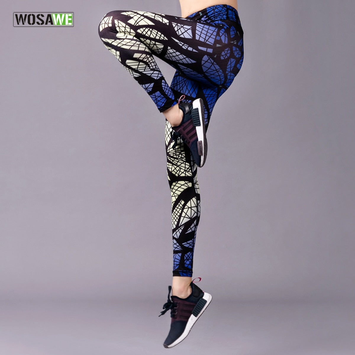 WOSAWE Printing Yoga Pants Womens Slim Compression Workout Sports Leggings Fitness Clothing Gym Trousers Training Running Tights