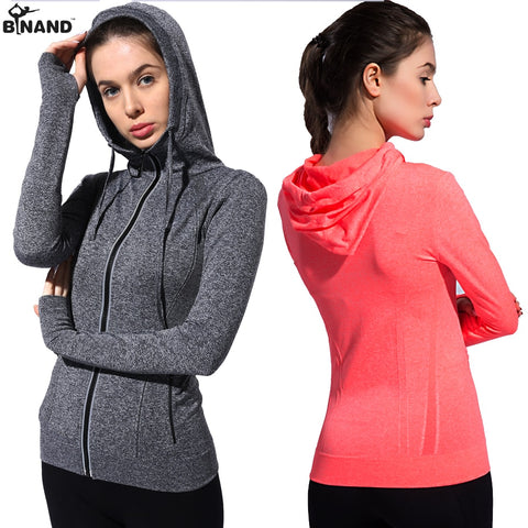 BINAND Women Zipper Jacket Two Side Pocket Sports Hoodies Running Full Sleeve Shirts Exercise Coat Fitness Top Gym Sweatshirt