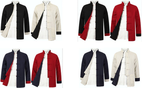 reversible jacket Wing Chun Tang suits martial arts tai chi uniforms Clothing men Two-sided wear outfit clothes coat