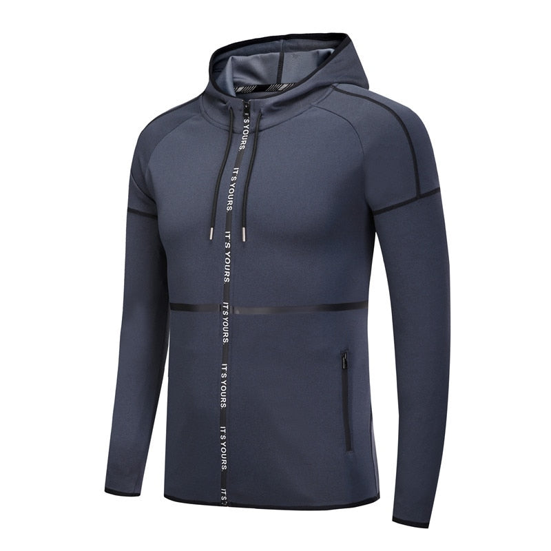 Men's Hooded Running Jacket Fitness Gym Sports Coat Basketball Sportswear Training Clothes Dry Hoodie Tops
