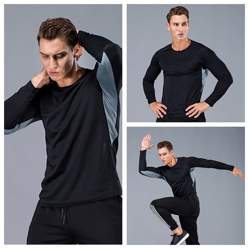 Men Long Sleeve Bodybuilding Sport Running Shirt breathable Basketball Soccer Training Fitness T Shirt Gym Clothing Sportswear