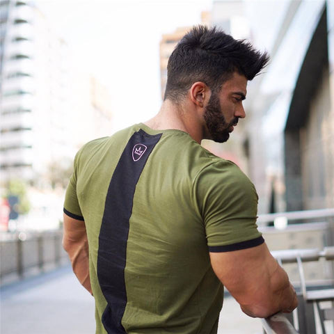 2019 Summer Men T-shirt Gym Running Training Fitness Bodybuilding Casual Sport Top Quality Cotton Short Sleeve Male Tops Tees
