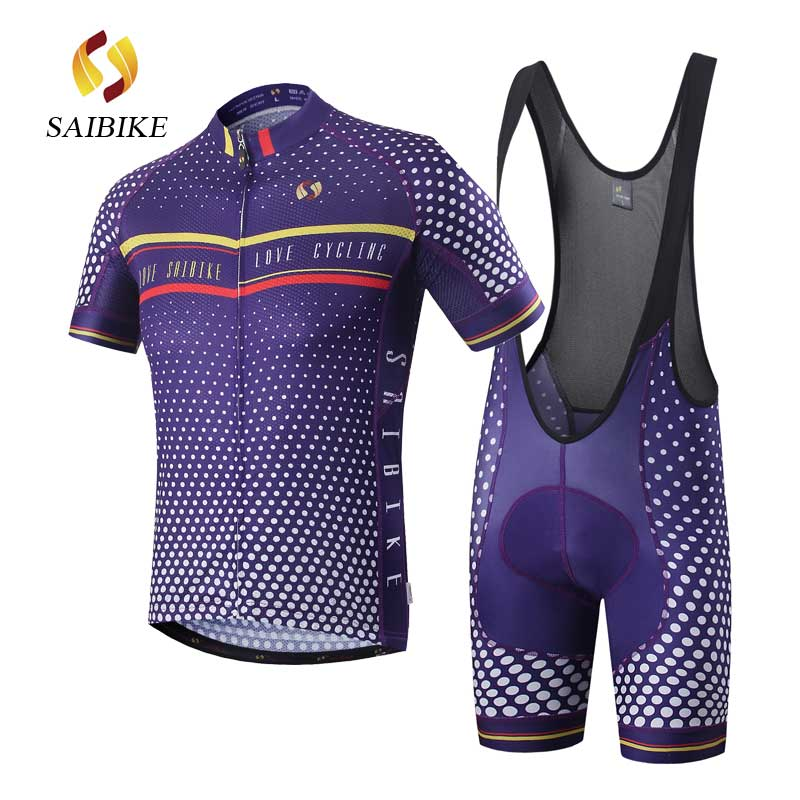 saiBike Cycling Clothing/Cycling Jersey Sets With Bib shorts Men Bicycle Summer Short Sleeve Outdoor Bike Sportswear