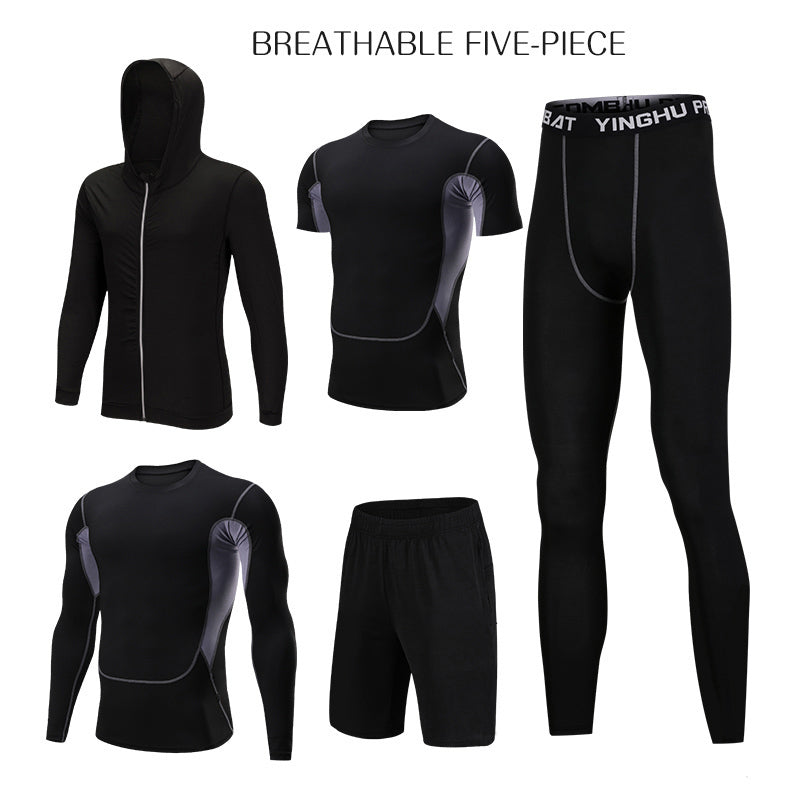 WorthWhile 5 Pcs/Set Men's Tracksuit Compression Sports Wear for Men Gym Fitness Exercise Workout Tights Running Jogging Suits