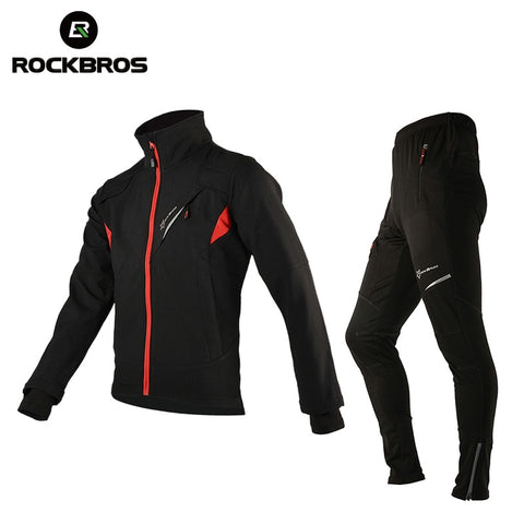 ROCKBROS Winter Fleece Cycling Sets Clothes Bicycle Thermal Jacket Jersey Men's Bike Trousers Cycling Clothing Suit Sportswear