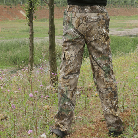 Men Breathable Cotton Dead Leaves Bionic Camouflage Hunting Pants Hiking Camping Fishing Long Trousers