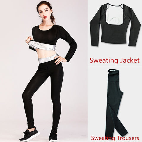 New Women's Fitness Yoga Running Sweating Suits Heat Gathering Shaping Slimming Flexible Elastic Sweater Jackets & Trousers Set