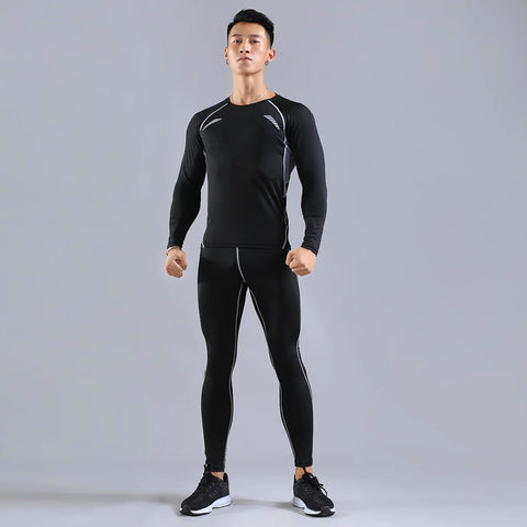 2pcs / set Men's Workout Sports Suit Gym Fitness Compression Clothes Running Jogging Sport Wear Exercise Workout Tights