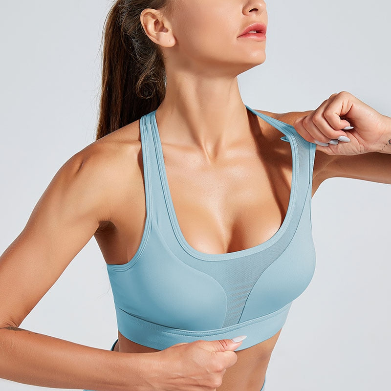 Women Fitness Gym Bra Sexy Shockproof Sport Bra Professional Female Top Solid Color Sportswear Fashion Push Up Running Yoga Bra