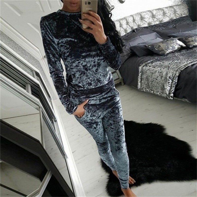 Spring Winter Women Tracksuit Velvet Hoodies + Pants 2 PCS Comprehensive Training Set Traning Exercise Gym Women Sports Suits