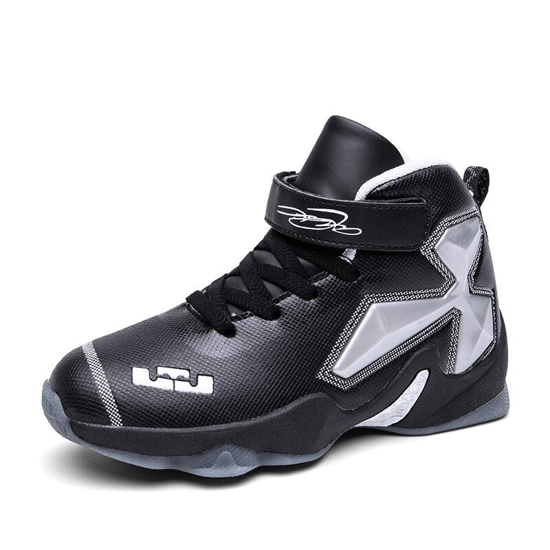 High Top Non-slip Kids Sneakers Thick Sole Boys Basketball Shoes Hook&Loop Children Sport Shoes Outdoor Trainer Basket