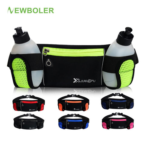Running Bags Waist 2 Water Bottle Outdoor Camping Hiking Fitness Man Women Gym Lightweight Belt Bag Female Sports Fanny Packs