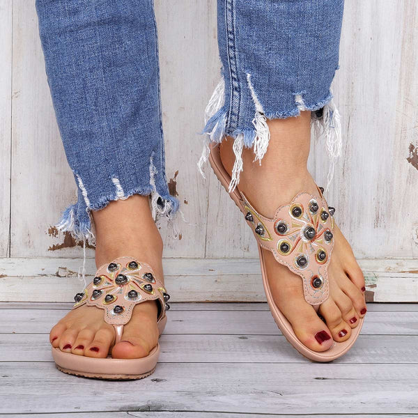 Vintage Rivets Slippers Embroidery Beach Flip-Flops Shoes