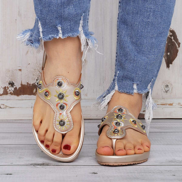 Vintage Rivet Flip-Flops Slippers Embroidery Slippers