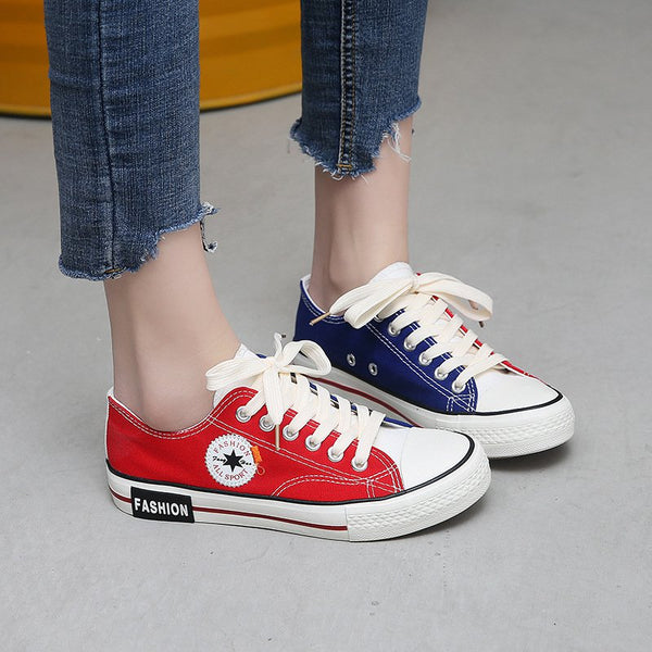 Casual All Season Lace-Up Color Block Comfy Canvas Athletic Sneakers
