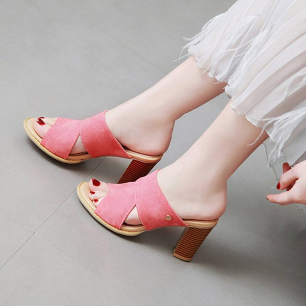 Women Summer Chunky Heel Casual Slippers