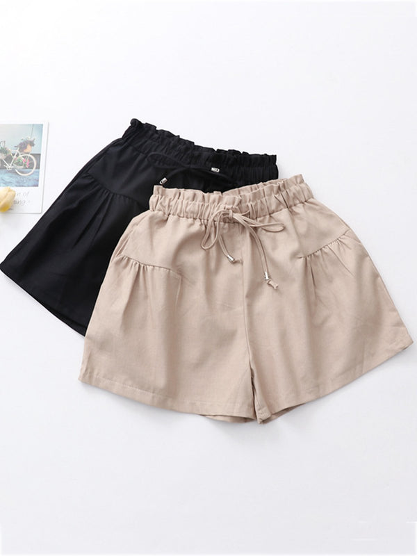 Casual Solid Pockets Cotton Pants