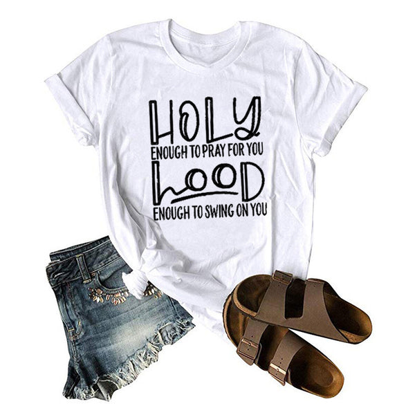 Women Letter Printed HOLY hood  Summer Casual  T-Shirt
