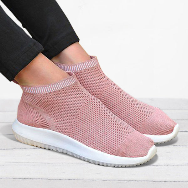 Women's Flyknit Breathable Sneakers Slip On Sport Shoes