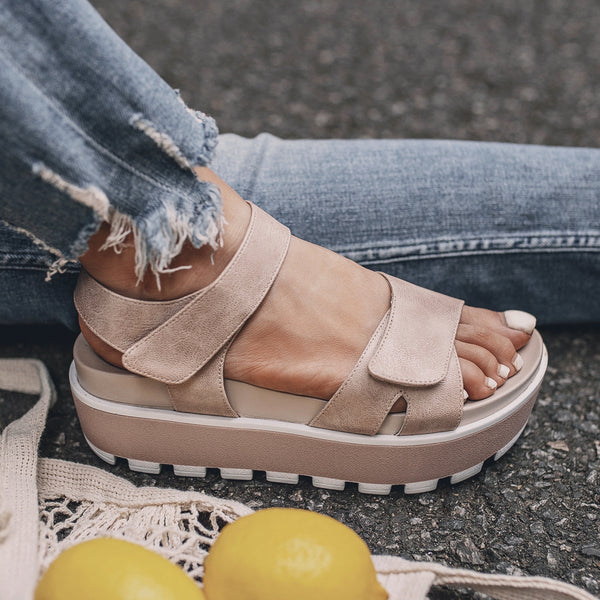 Magic Tape Soft Platform Summer Sandals