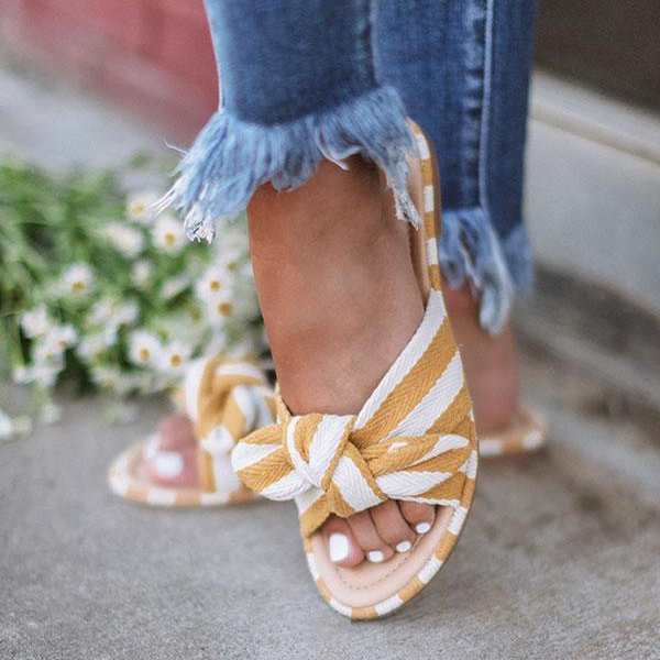 Women Bowknot Stripe Sandals Flat Slip-On Slide Sandals