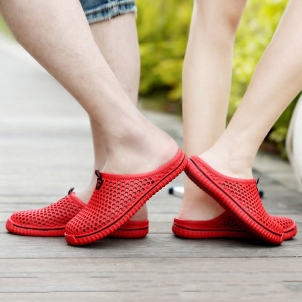 Big Size Hollow Out Breathable Open Heel Slip On Flat Casual Beach Sandals