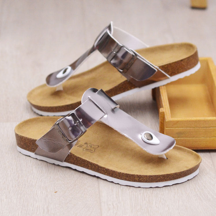 PU Round Toe Wedge Heel Sandals