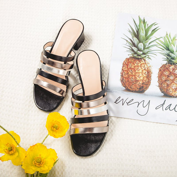Black Summer Casual Chunky Heel Slippers