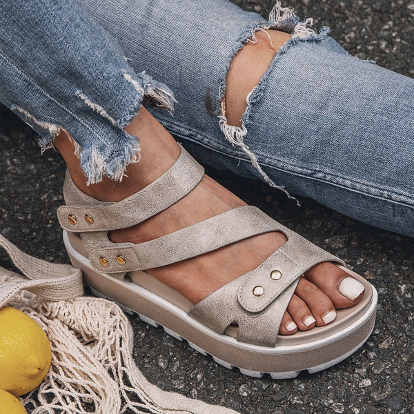 Rivet Soft Platform Summer Magic Tape Strap Sandals