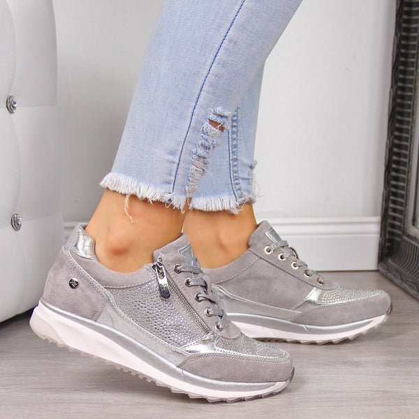 All Season Faux Leather Sneakers With Zippers