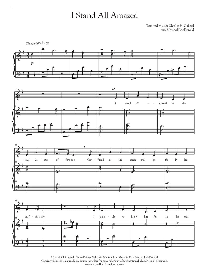 I Stand All Amazed (vocal sheet music)