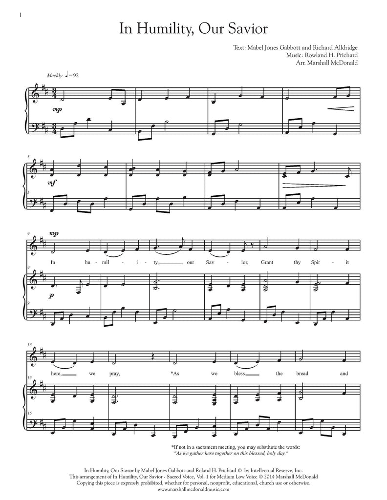 In Humility, Our Savior (vocal sheet music)