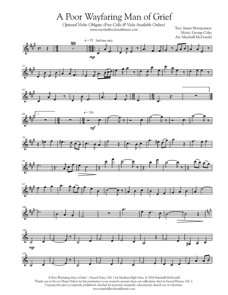 A Poor Wayfaring Man of Grief (vocal sheet music)