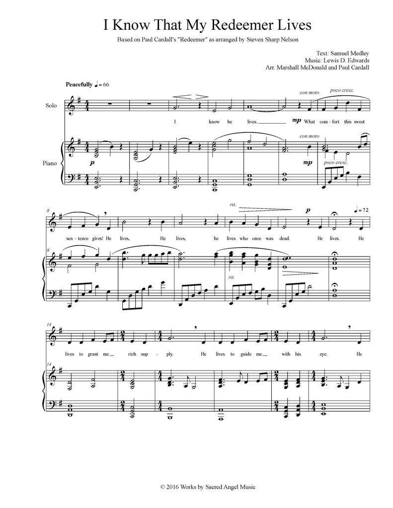 I Know that My Redeemer Lives (choral SATB)
