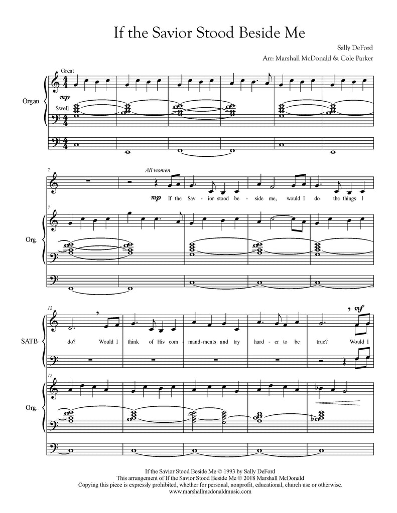 If the Savior Stood Beside Me (choral SATB)