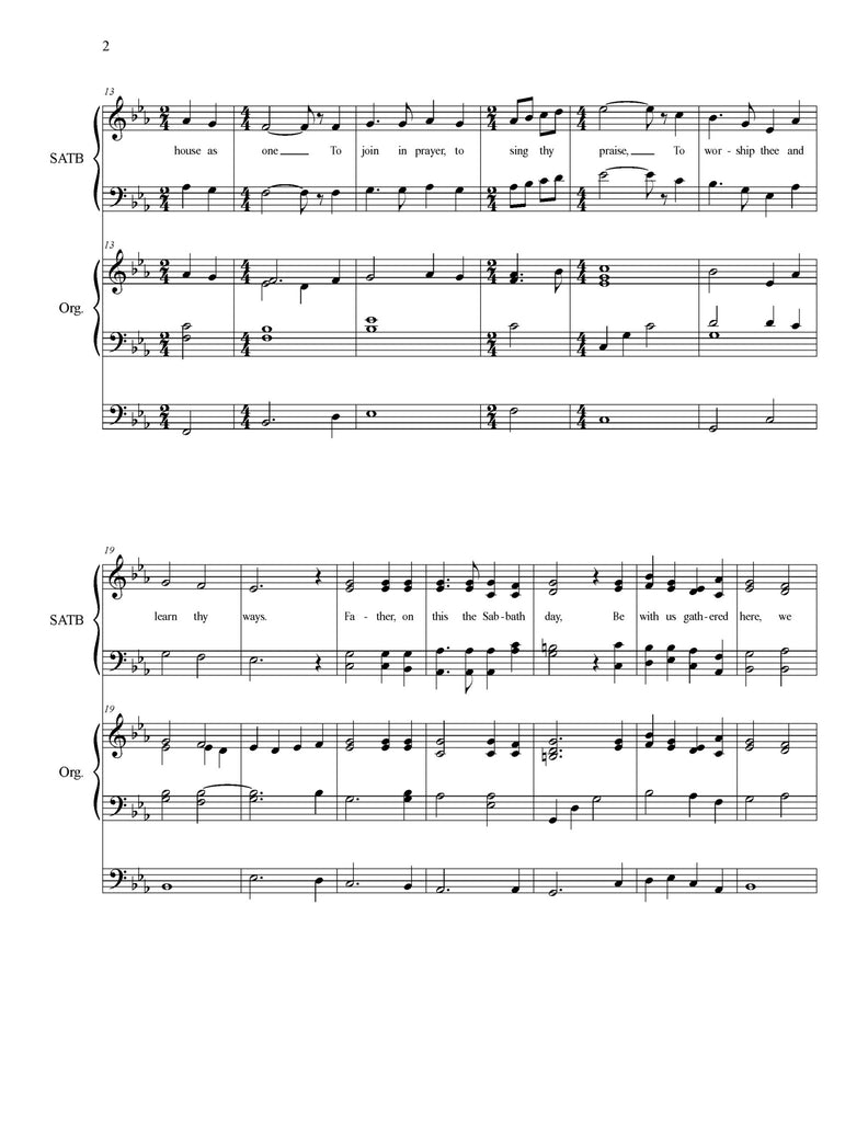 Sabbath Day (choral SATB with ORGAN)