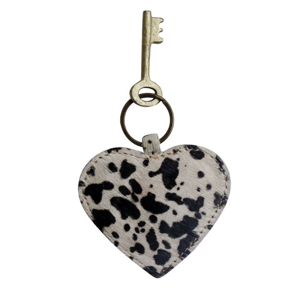 DALMATIAN PRINT HEART SHAPED KEYCHAIN BY Myra Bags