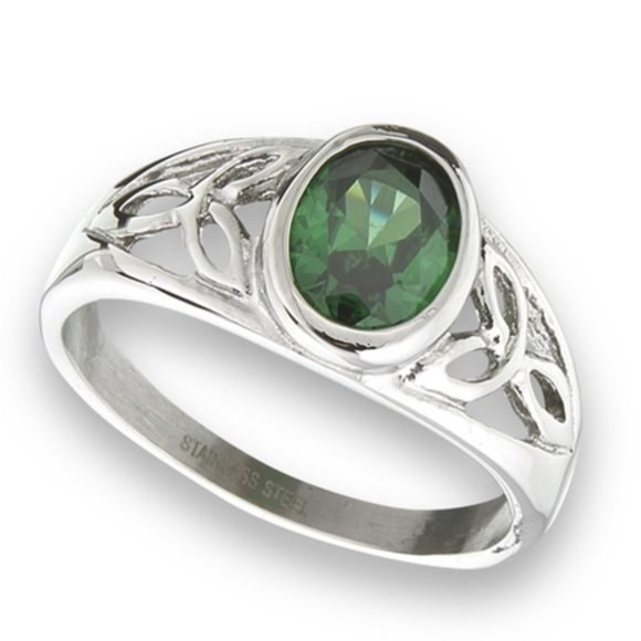 STAINLESS STEEL CELTIC RING WITH GREEN CZ