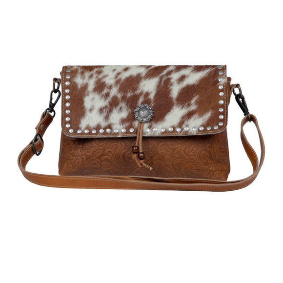 BLOSSOM ETCHED LEATHER & HAIR ON BAG by MYRA BAGS