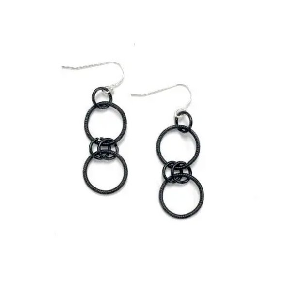 SEA LILY BLACK DOUBLE LOOPED PIANO WIRE EARRINGS