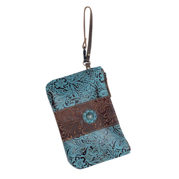 AQUA WRISTLET LEATHER & HAIR ON BAG by MYRA BAGS