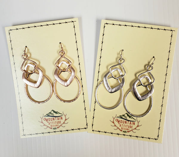 SILVER/ROSE GOLD TWIST DROP EARRINGS
